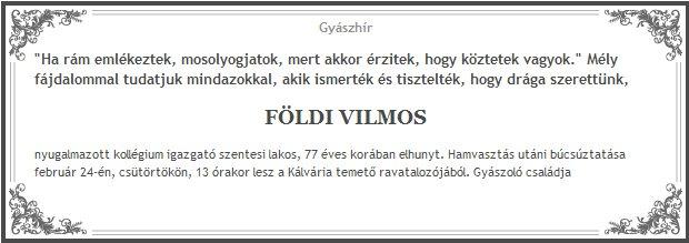 Földi Vilmos (1933-2011) - gyászhír